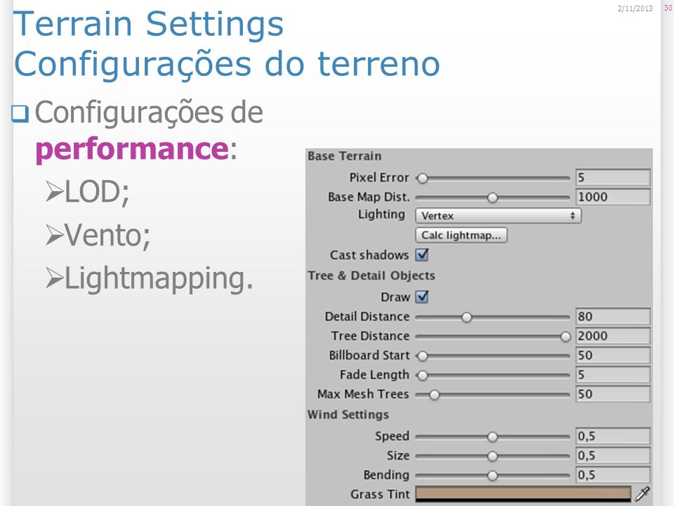 Terrain Settings Configurações do terreno