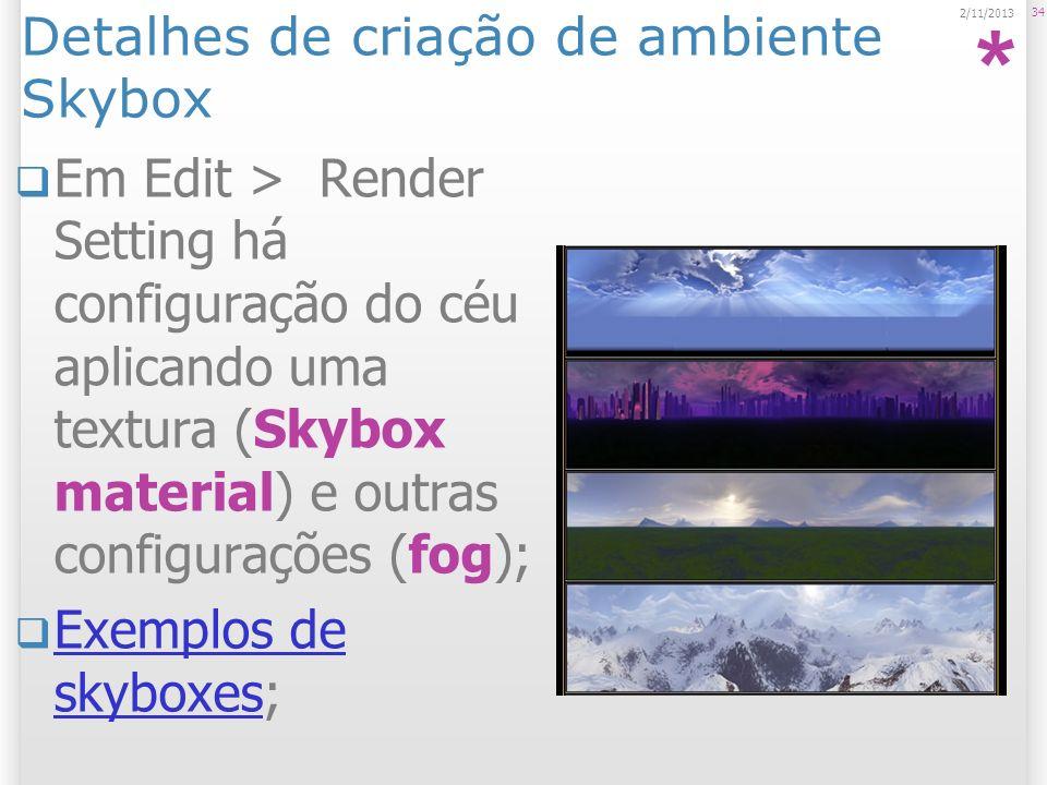 Detalhes de criação de ambiente Skybox