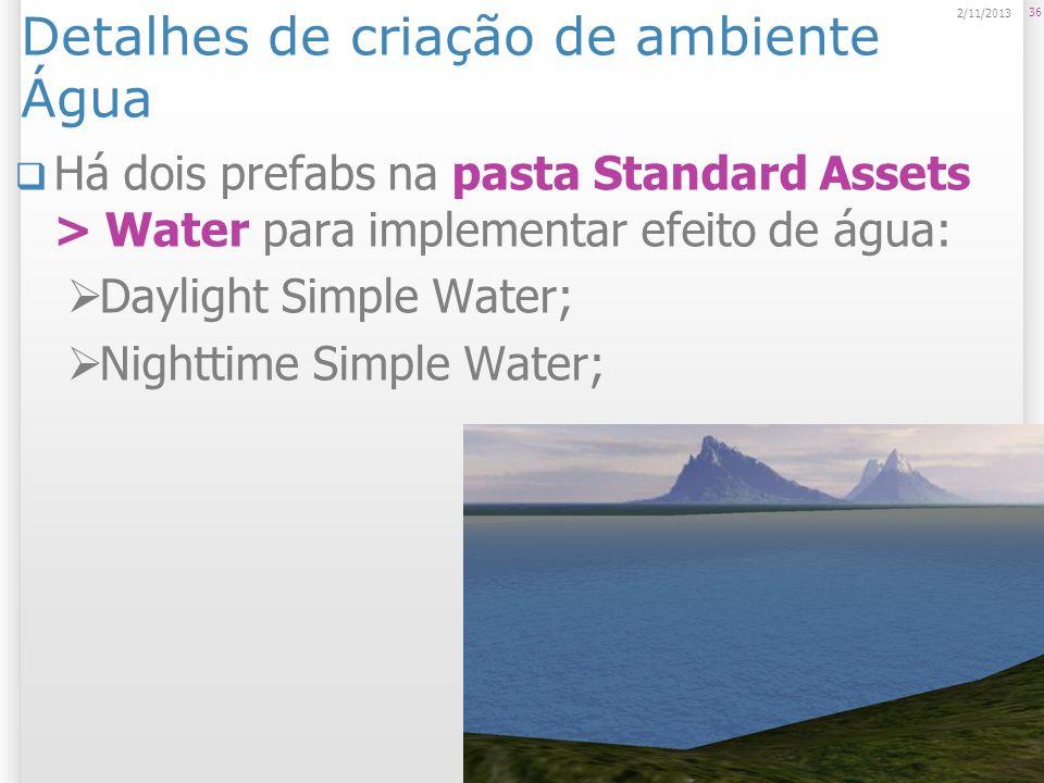 Detalhes de criação de ambiente Água