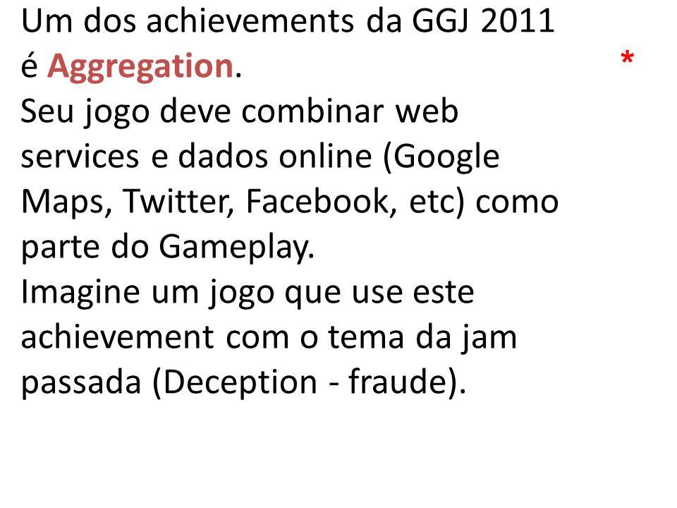 Um dos achievements da GGJ 2011 é Aggregation