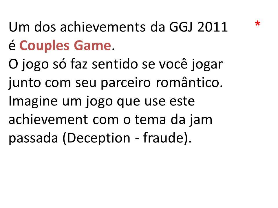 Um dos achievements da GGJ 2011 é Couples Game