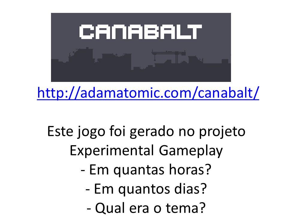 http://adamatomic.com/canabalt/ Este jogo foi gerado no projeto Experimental Gameplay - Em quantas horas - Em quantos dias - Qual era o tema