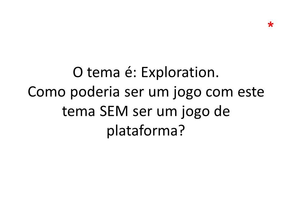 * O tema é: Exploration. Como poderia ser um jogo com este tema SEM ser um jogo de plataforma Exploration foi o tema da Ludum Dare.