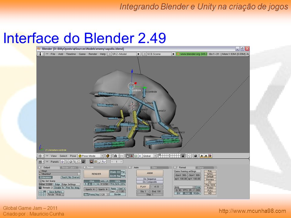 Interface do Blender 2.49
