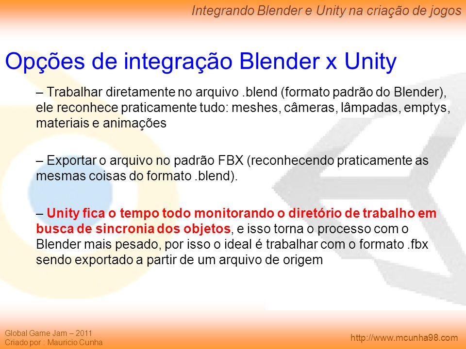 Opções de integração Blender x Unity