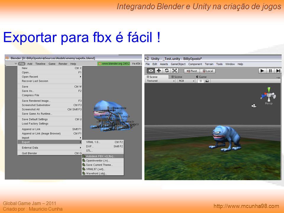 Exportar para fbx é fácil !