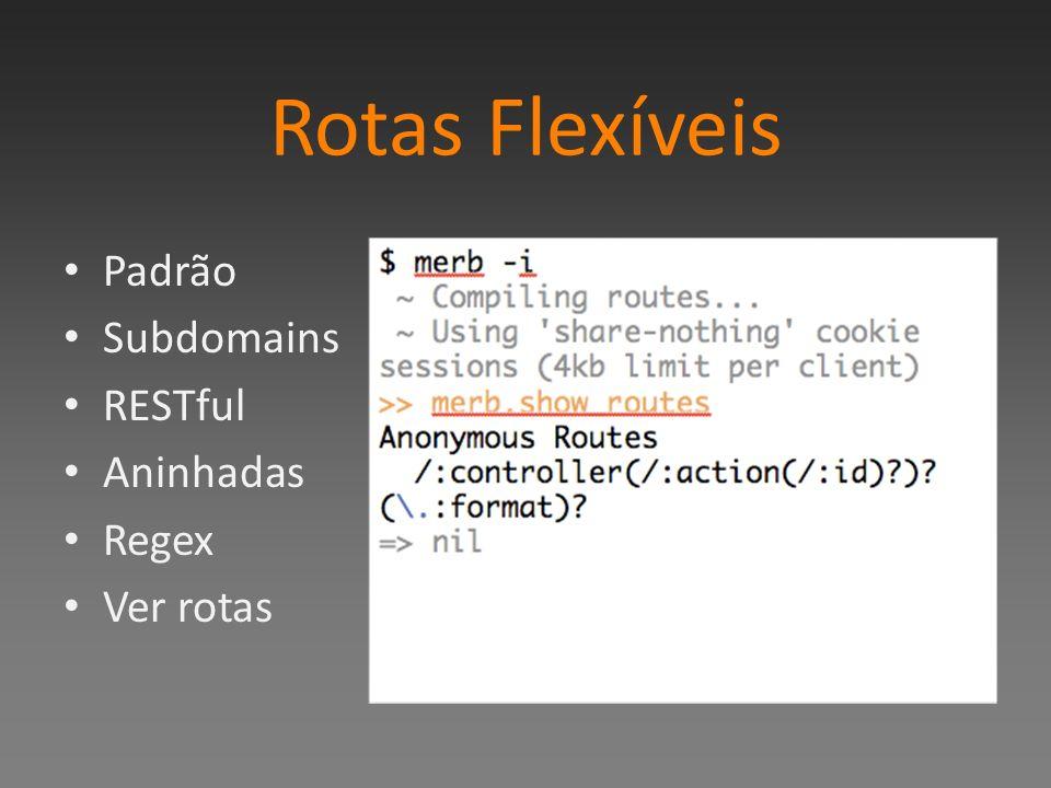 Rotas Flexíveis Padrão Subdomains RESTful Aninhadas Regex Ver rotas