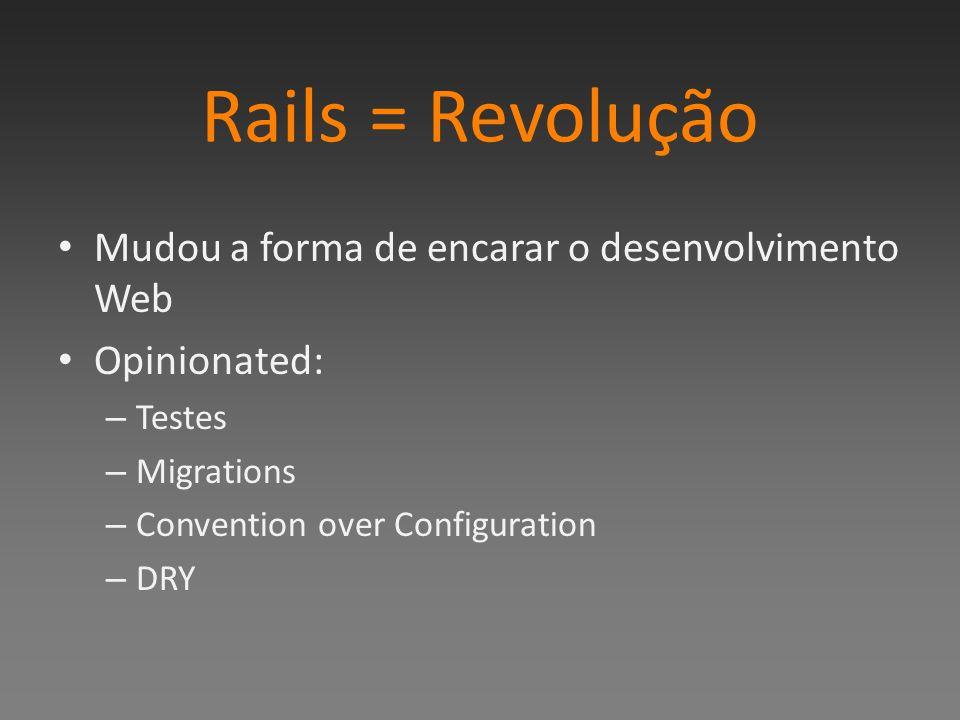 Rails = Revolução Mudou a forma de encarar o desenvolvimento Web