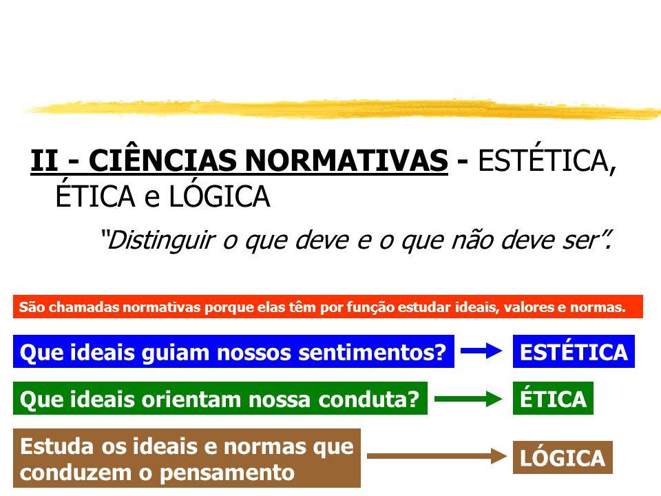 II - CIÊNCIAS NORMATIVAS - ESTÉTICA, ÉTICA e LÓGICA