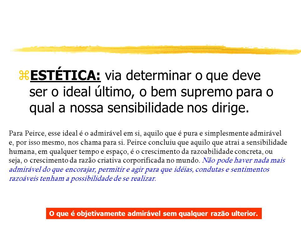 ESTÉTICA: via determinar o que deve ser o ideal último, o bem supremo para o qual a nossa sensibilidade nos dirige.