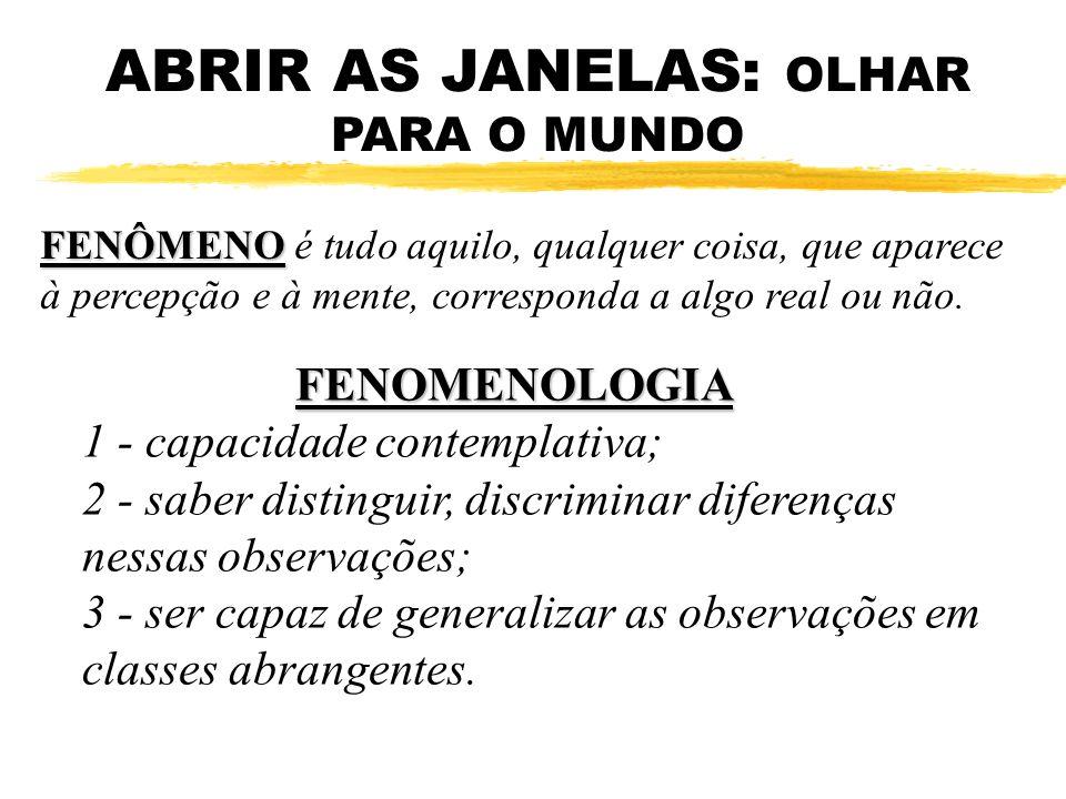 ABRIR AS JANELAS: OLHAR PARA O MUNDO