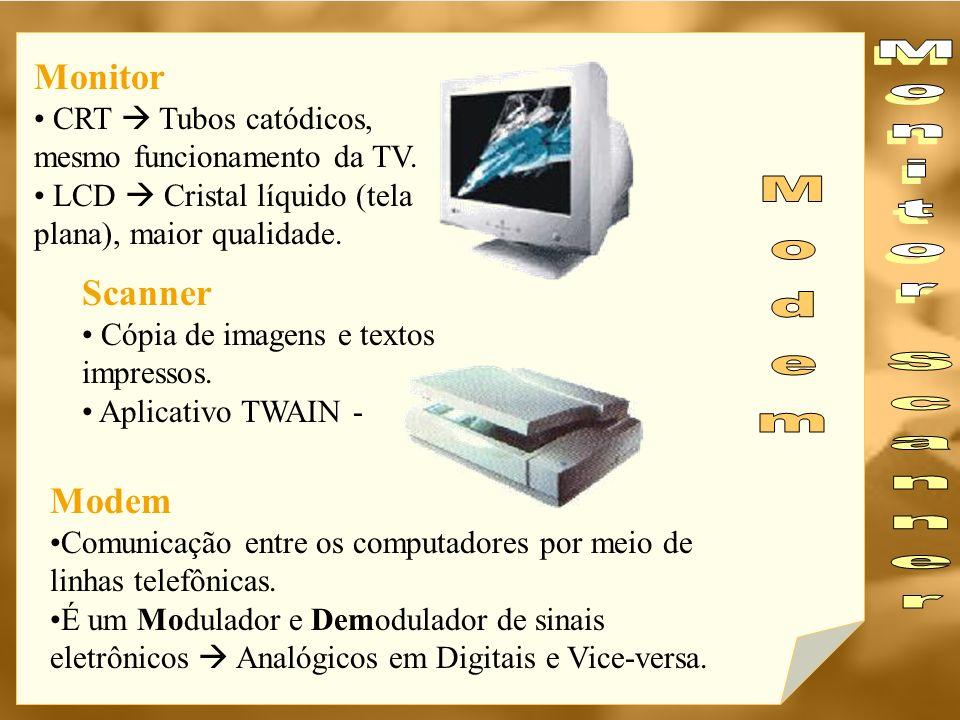 Monitor CRT  Tubos catódicos, mesmo funcionamento da TV. LCD  Cristal líquido (tela plana), maior qualidade.