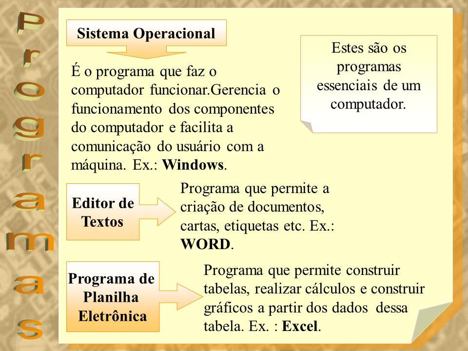 Estes são os programas essenciais de um computador.