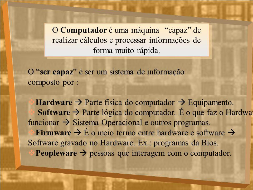 O Computador é uma máquina capaz de realizar cálculos e processar informações de forma muito rápida.