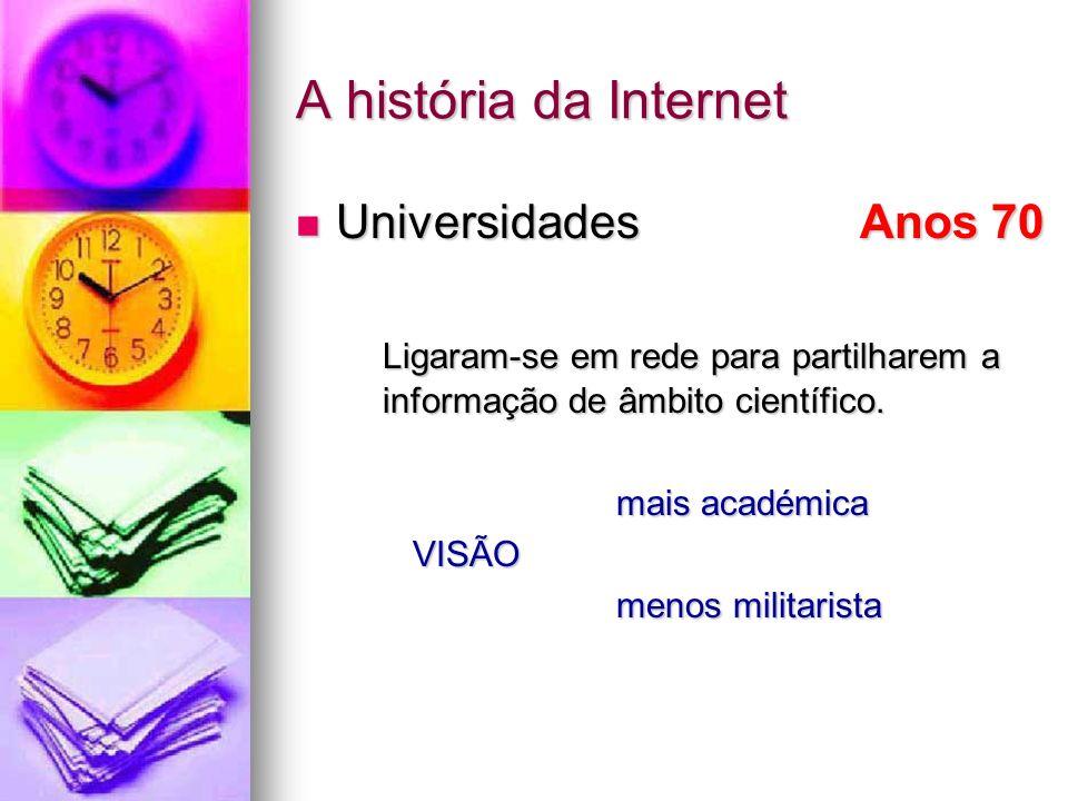 A história da Internet Universidades Anos 70