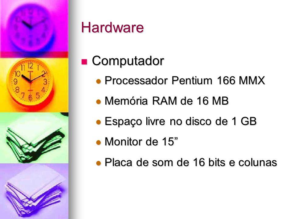 Hardware Computador Processador Pentium 166 MMX Memória RAM de 16 MB
