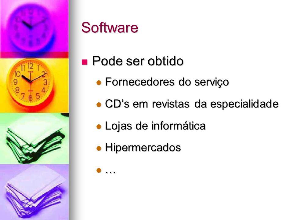 Software Pode ser obtido Fornecedores do serviço