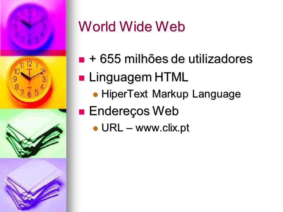 World Wide Web + 655 milhões de utilizadores Linguagem HTML