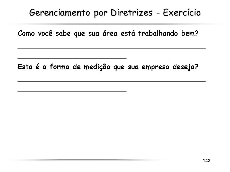 Gerenciamento por Diretrizes - Exercício