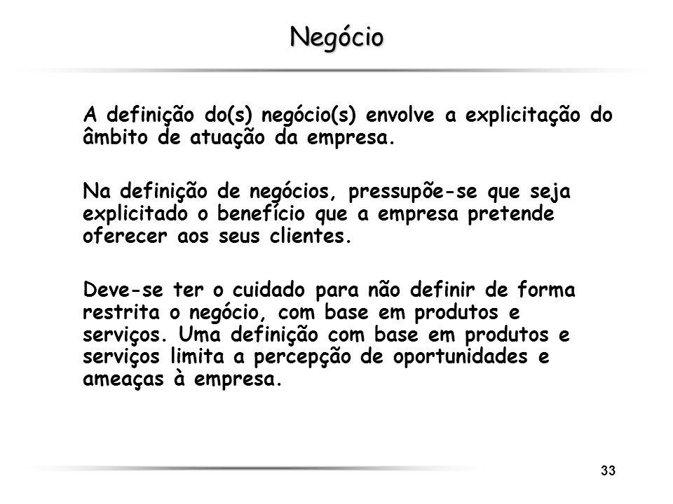 Negócio A definição do(s) negócio(s) envolve a explicitação do âmbito de atuação da empresa.