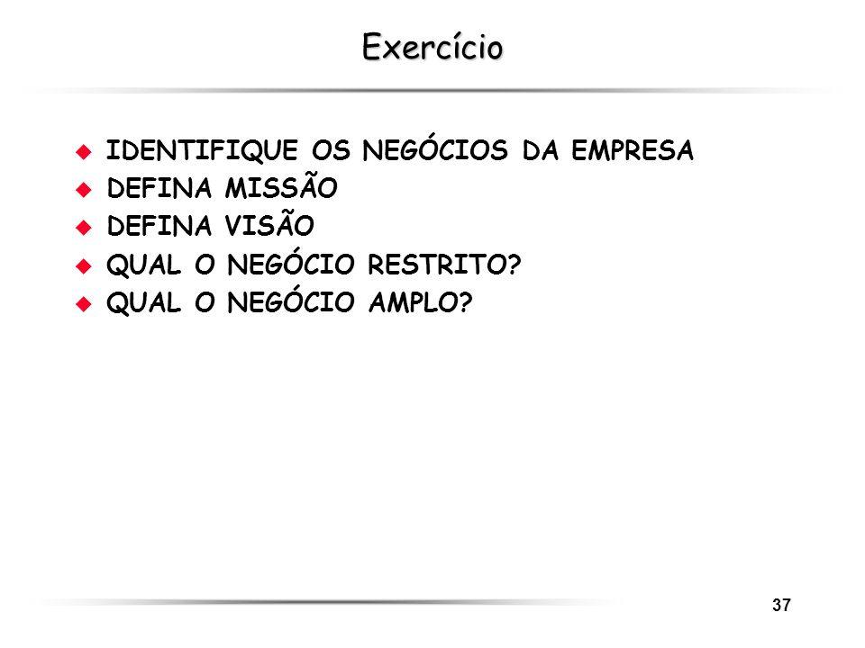 Exercício IDENTIFIQUE OS NEGÓCIOS DA EMPRESA DEFINA MISSÃO