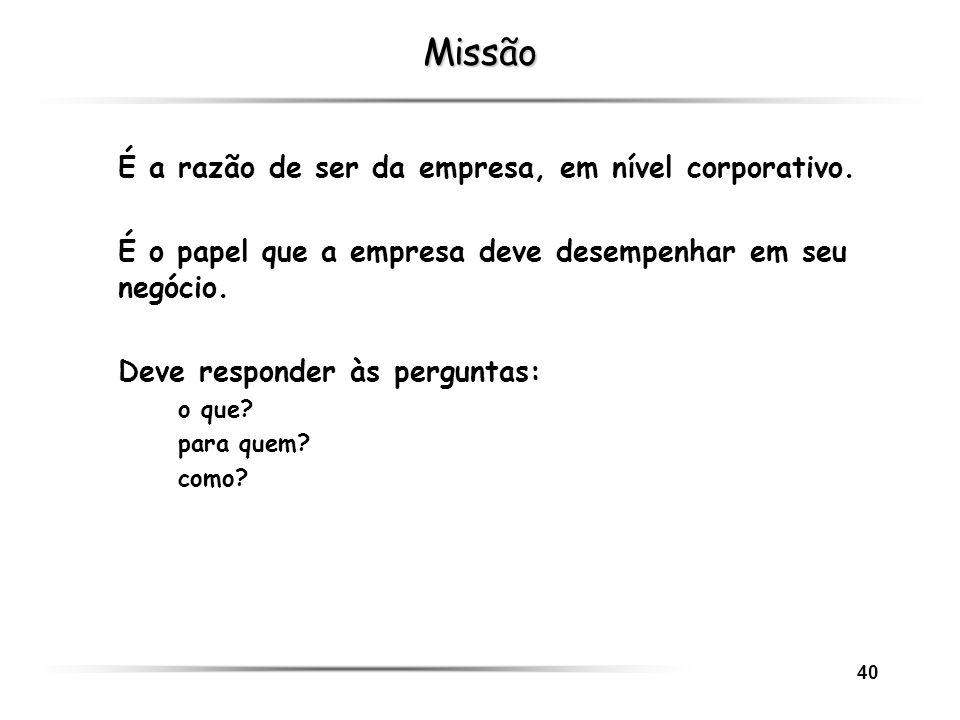 Missão É a razão de ser da empresa, em nível corporativo.