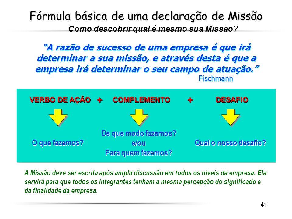 Fórmula básica de uma declaração de Missão