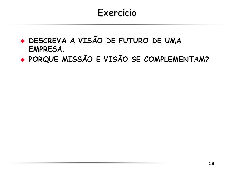 Exercício DESCREVA A VISÃO DE FUTURO DE UMA EMPRESA.