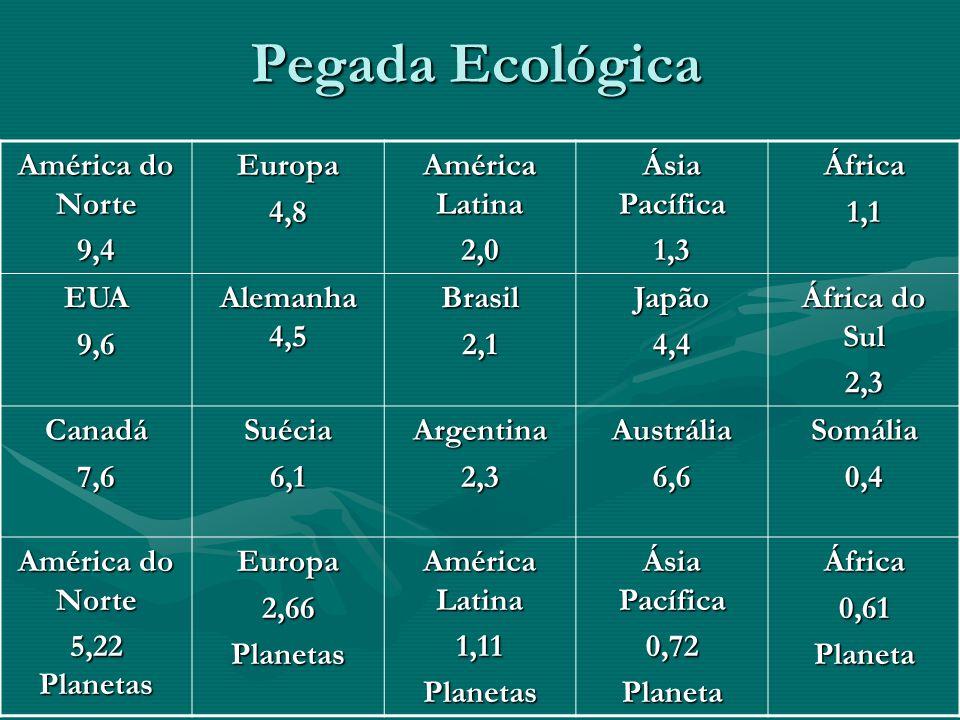 Pegada Ecológica América do Norte 9,4 Europa 4,8 América Latina 2,0