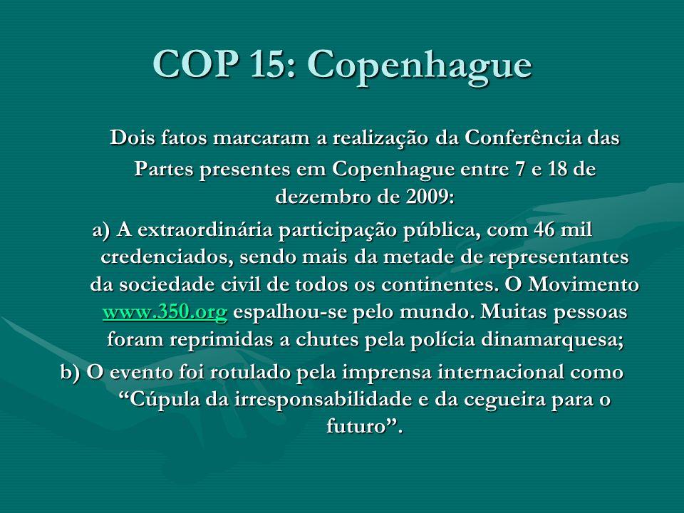 COP 15: Copenhague Dois fatos marcaram a realização da Conferência das Partes presentes em Copenhague entre 7 e 18 de dezembro de 2009: