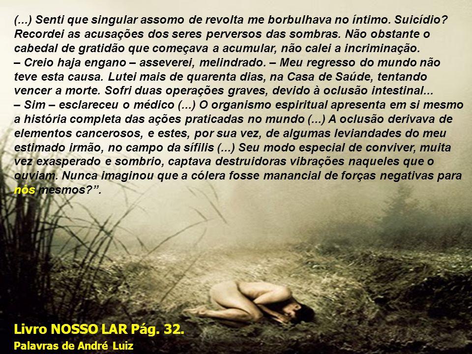 Livro NOSSO LAR Pág. 32. Palavras de André Luiz