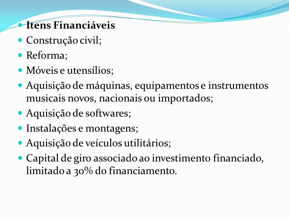 Itens Financiáveis Construção civil; Reforma; Móveis e utensílios;