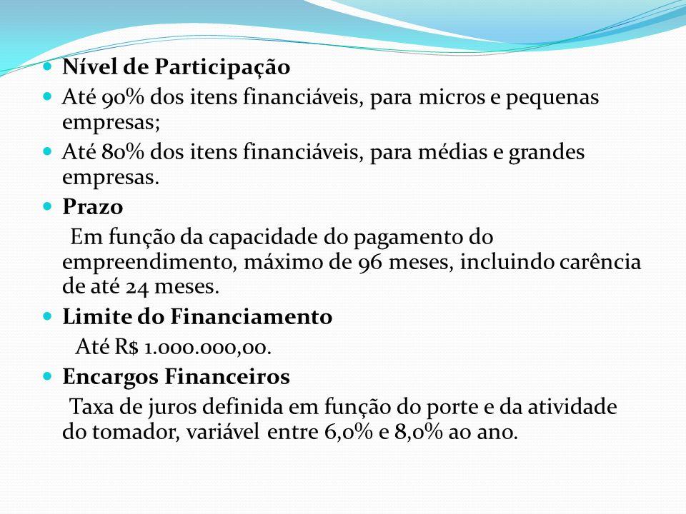 Nível de Participação Até 90% dos itens financiáveis, para micros e pequenas empresas;