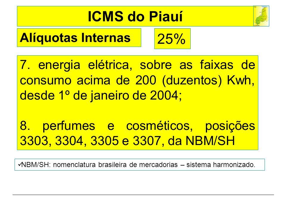 Alíquotas Internas 25% 7. energia elétrica, sobre as faixas de consumo acima de 200 (duzentos) Kwh, desde 1º de janeiro de 2004;