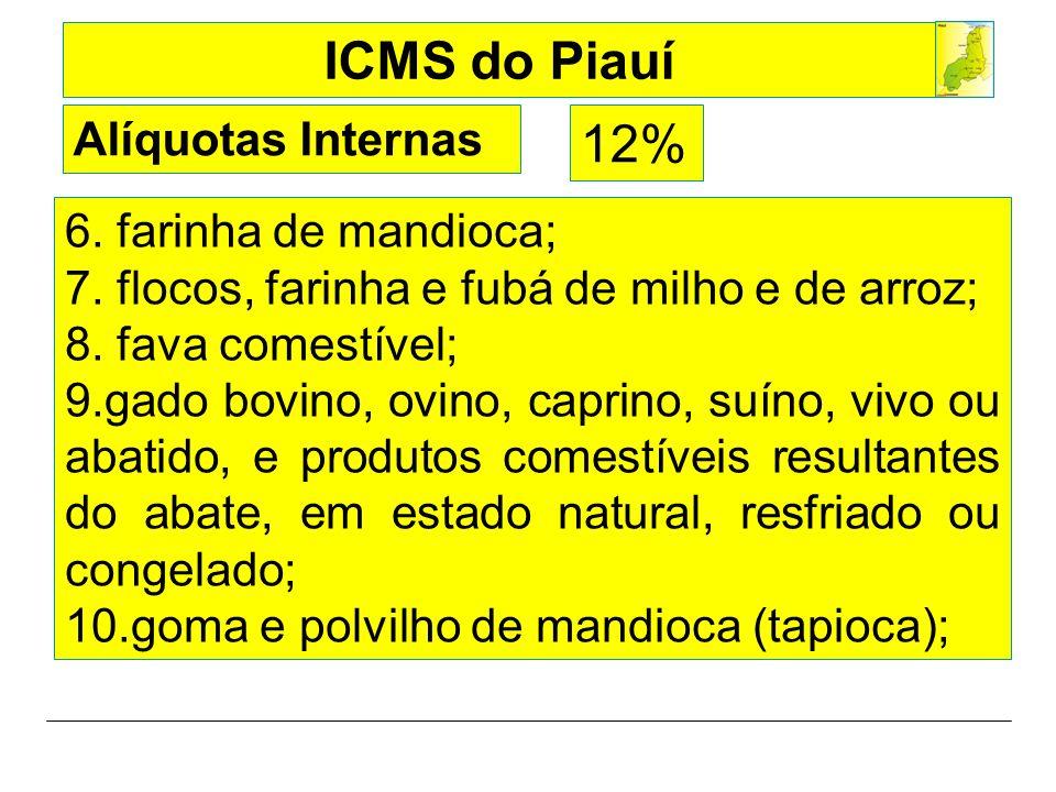 12% Alíquotas Internas 6. farinha de mandioca;