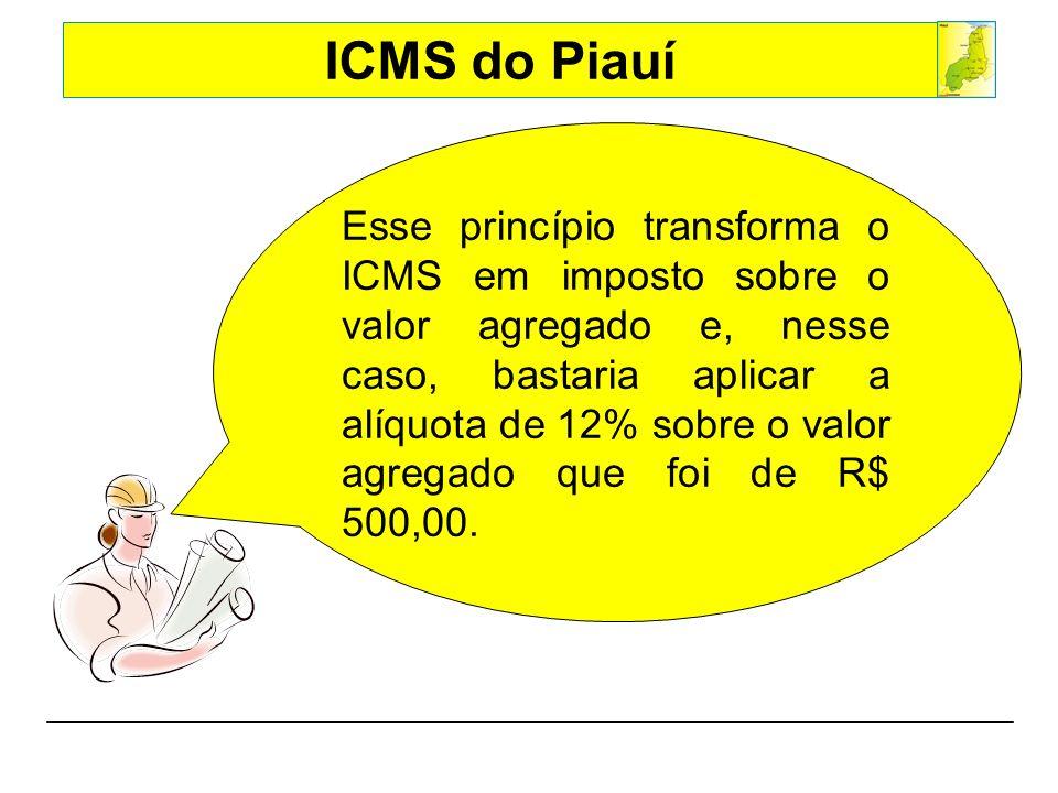 Esse princípio transforma o ICMS em imposto sobre o valor agregado e, nesse caso, bastaria aplicar a alíquota de 12% sobre o valor agregado que foi de R$ 500,00.