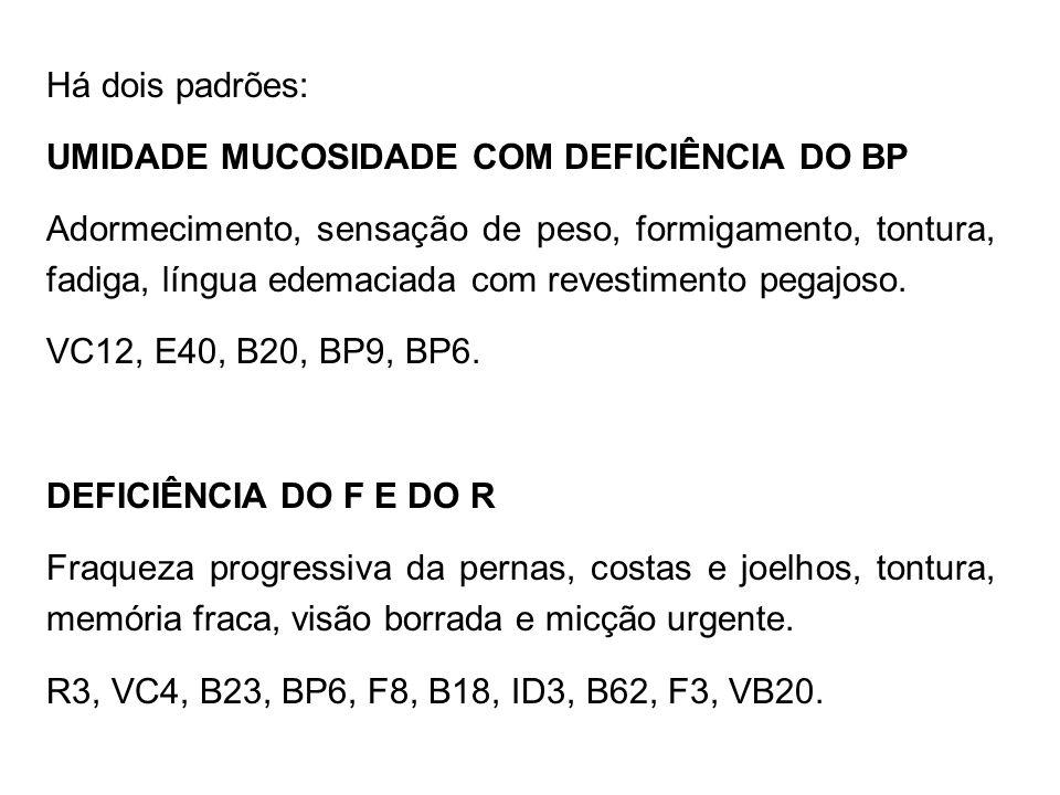 Há dois padrões:UMIDADE MUCOSIDADE COM DEFICIÊNCIA DO BP.