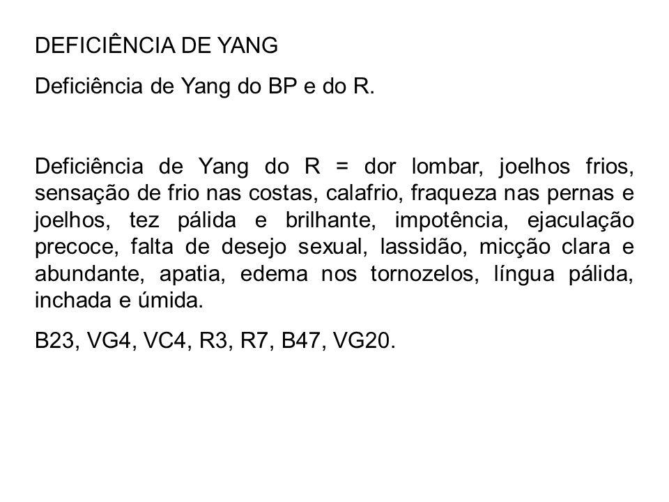 DEFICIÊNCIA DE YANG Deficiência de Yang do BP e do R.