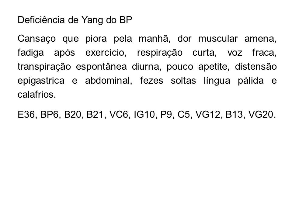 Deficiência de Yang do BP