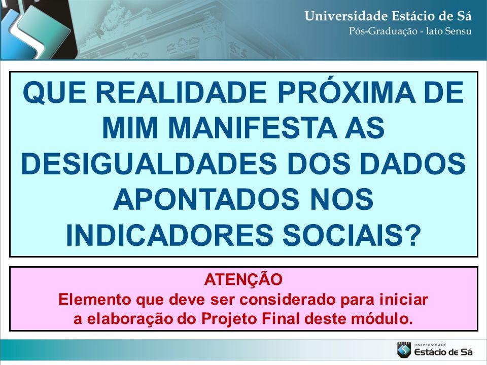 QUE REALIDADE PRÓXIMA DE MIM MANIFESTA AS DESIGUALDADES DOS DADOS APONTADOS NOS INDICADORES SOCIAIS