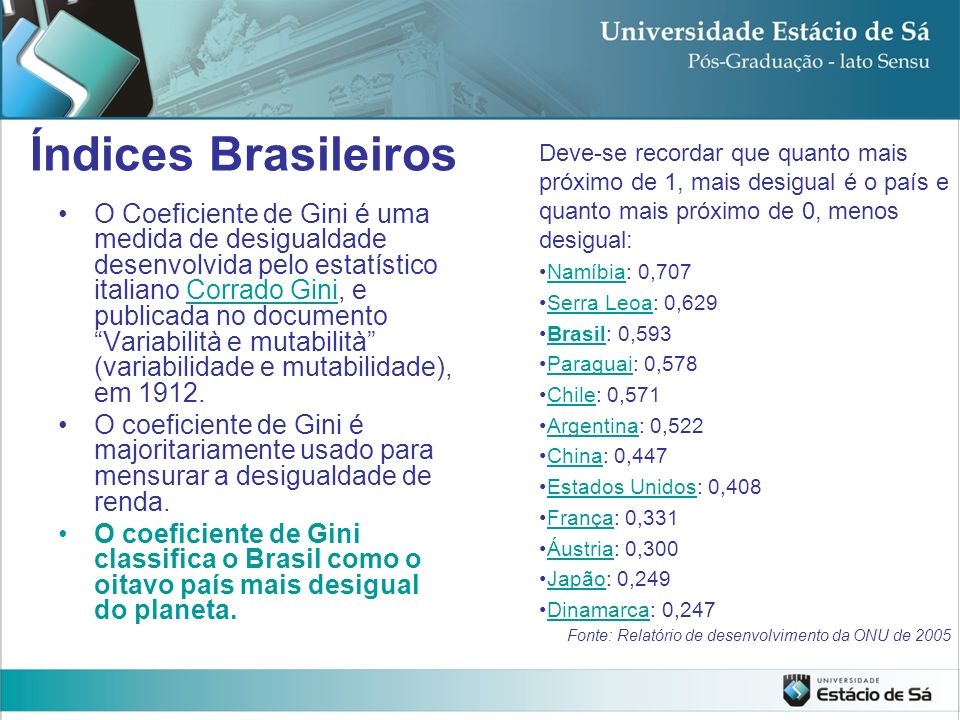 Índices Brasileiros Deve-se recordar que quanto mais próximo de 1, mais desigual é o país e quanto mais próximo de 0, menos desigual: