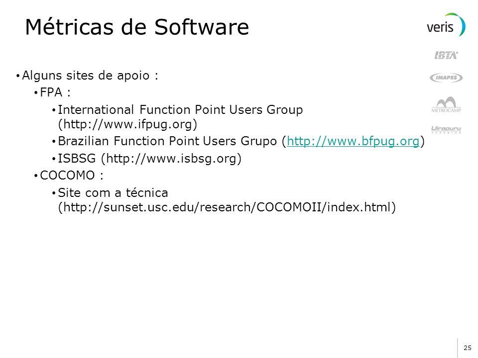 Métricas de Software Alguns sites de apoio : FPA :