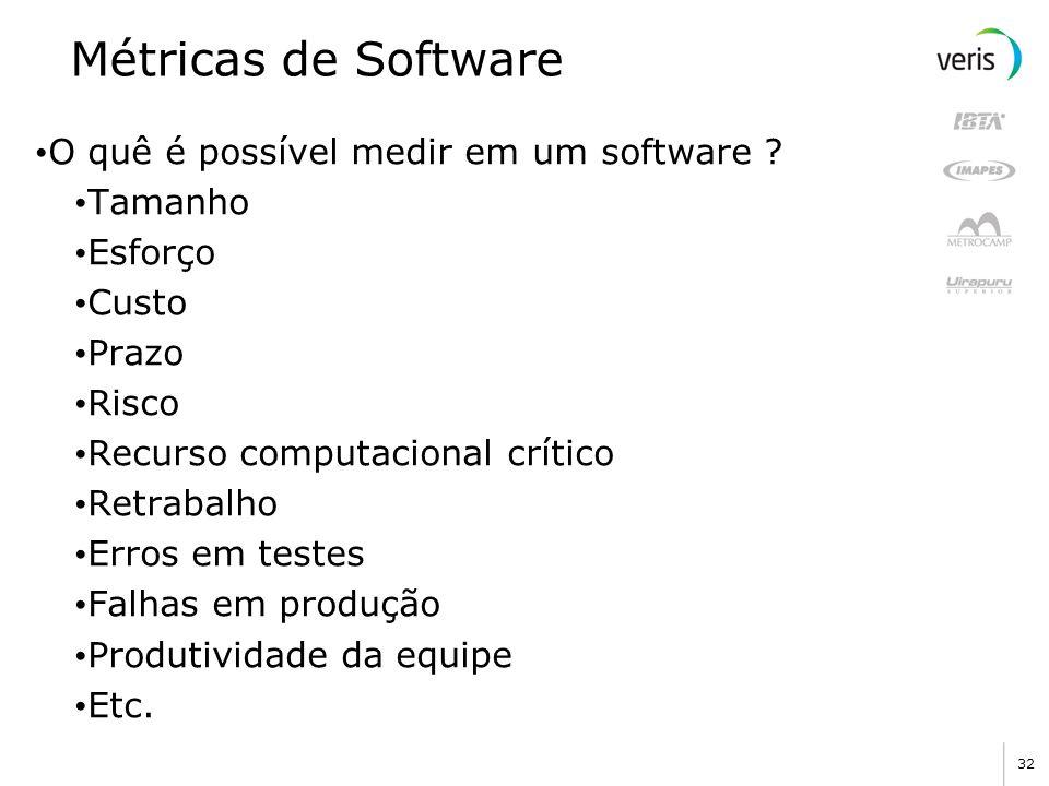 Métricas de Software O quê é possível medir em um software Tamanho