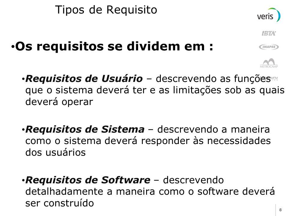 Os requisitos se dividem em :