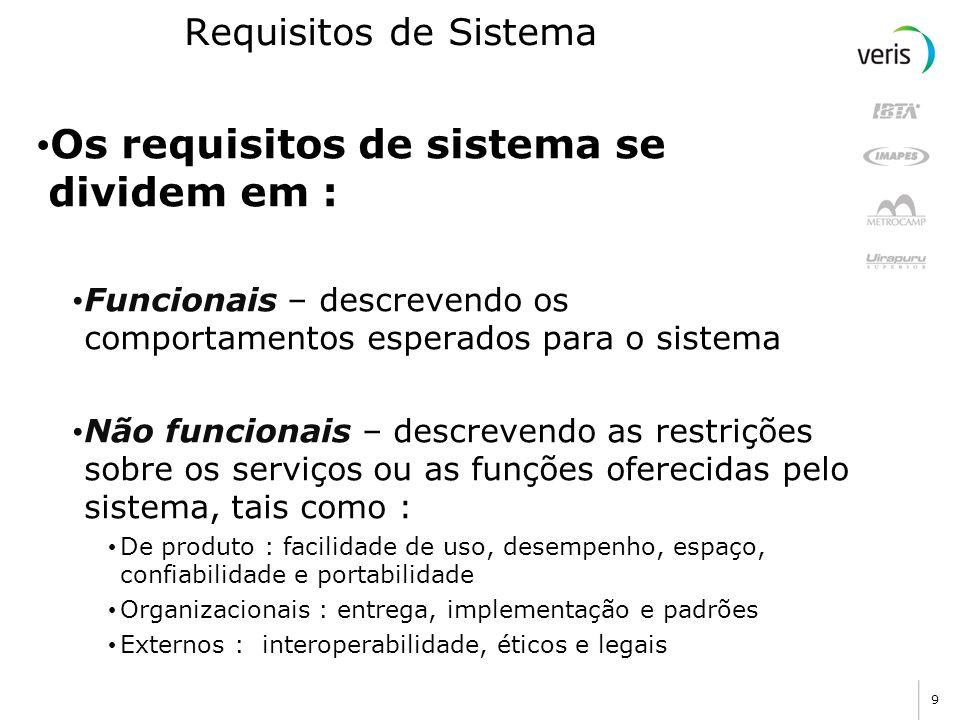 Os requisitos de sistema se dividem em :