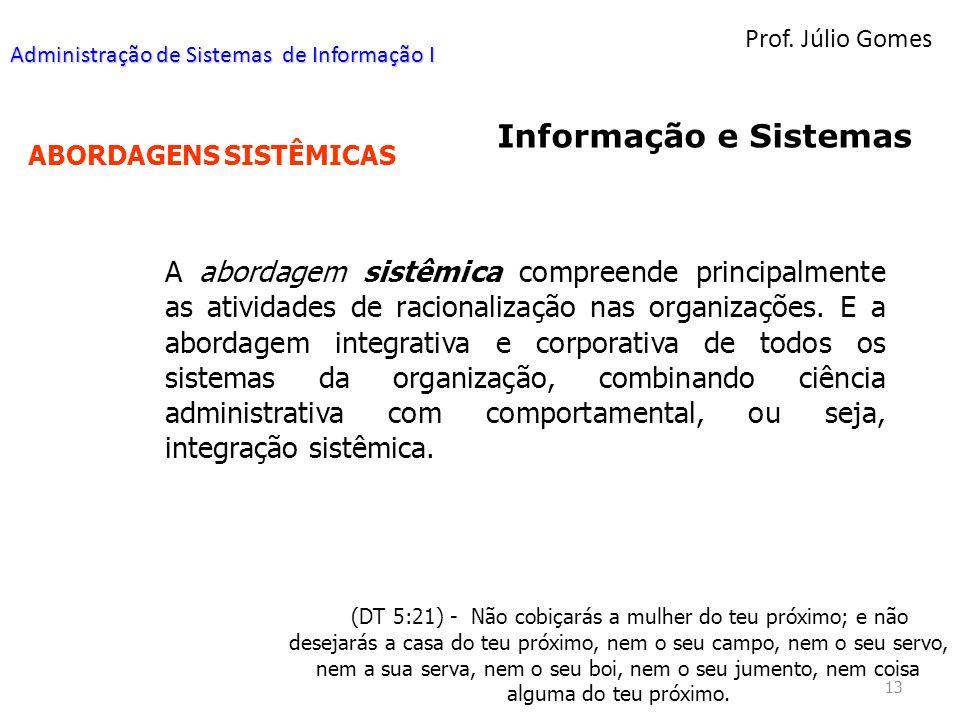 Prof. Júlio Gomes Administração de Sistemas de Informação I. Informação e Sistemas. ABORDAGENS SISTÊMICAS.