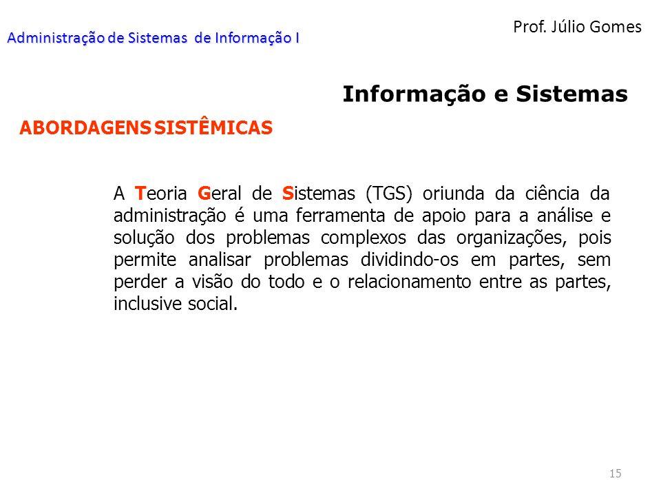 Informação e Sistemas Prof. Júlio Gomes ABORDAGENS SISTÊMICAS