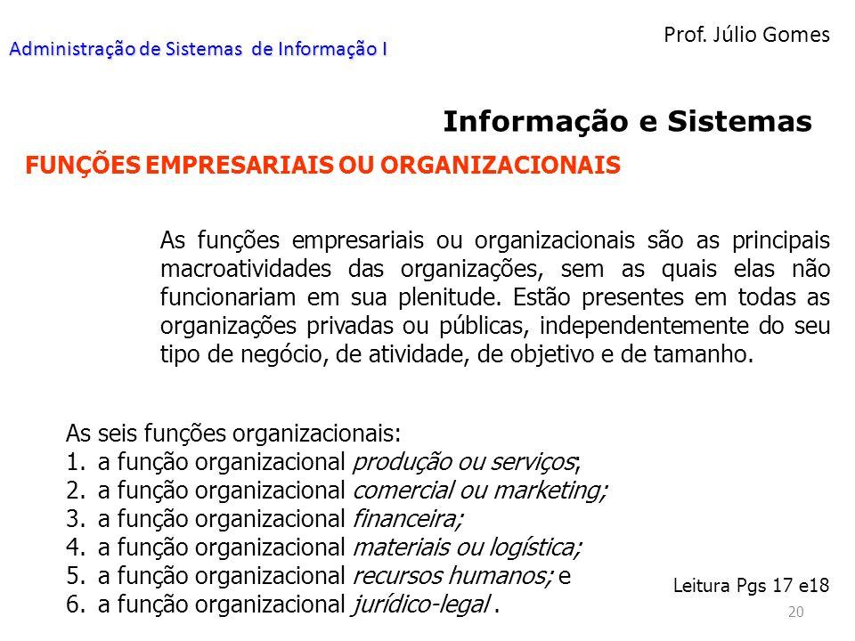 Informação e Sistemas Prof. Júlio Gomes