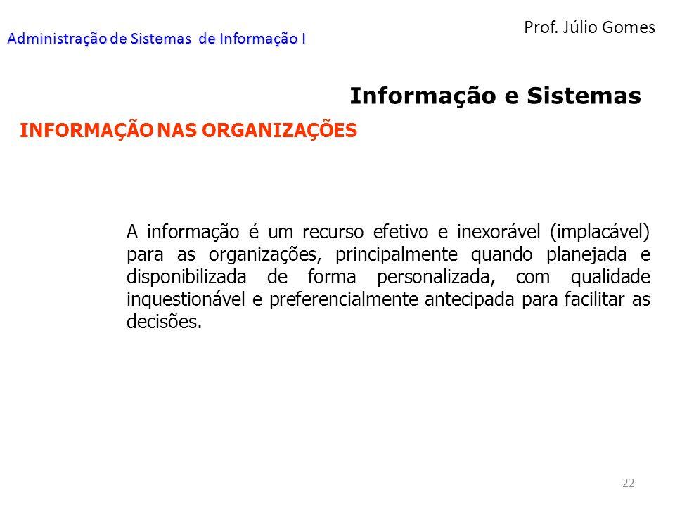 Informação e Sistemas Prof. Júlio Gomes INFORMAÇÃO NAS ORGANIZAÇÕES