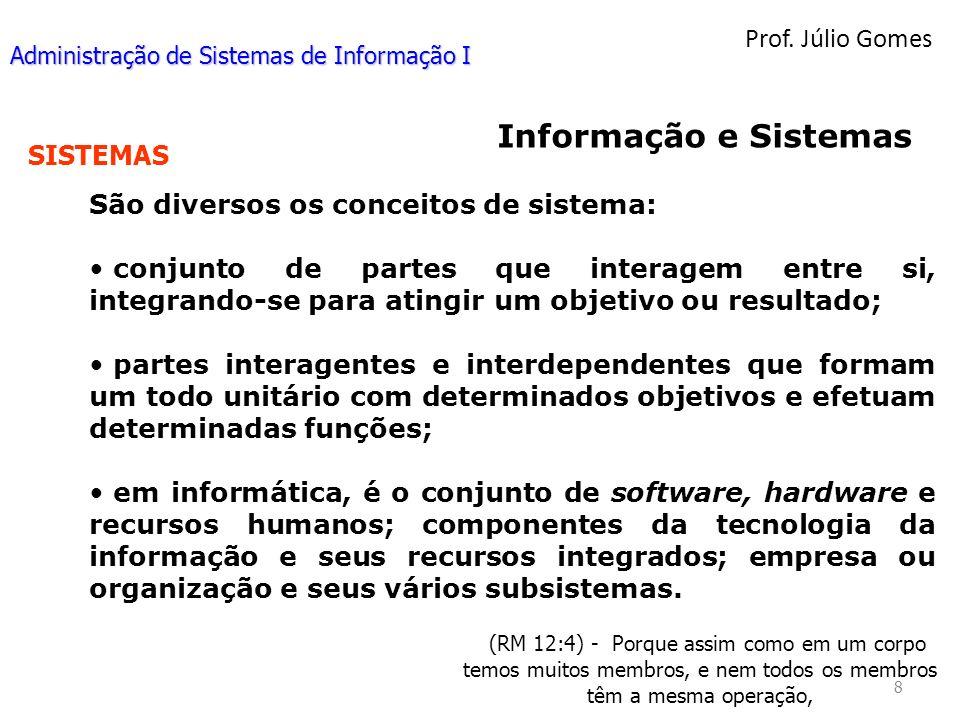Informação e Sistemas Prof. Júlio Gomes SISTEMAS